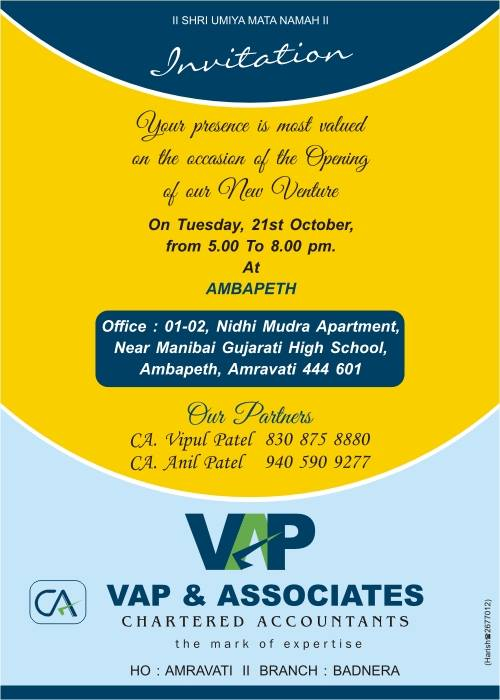 Our Office Opening Invitation VAP Associates CA Services